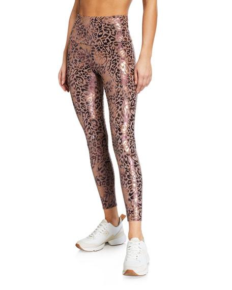 Onzie Foiled Leopard Print Midi Leggings