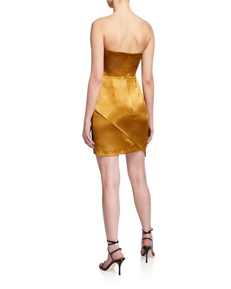 Aidan by Aidan Mattox Strapless Liquid Satin Mini Cocktail Dress w/ Side Drape Detail