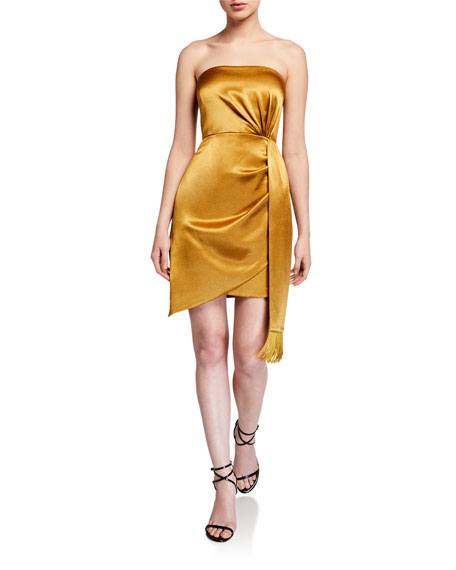 Image 1 of 3: Aidan by Aidan Mattox Strapless Liquid Satin Mini Cocktail Dress w/ Side Drape Detail