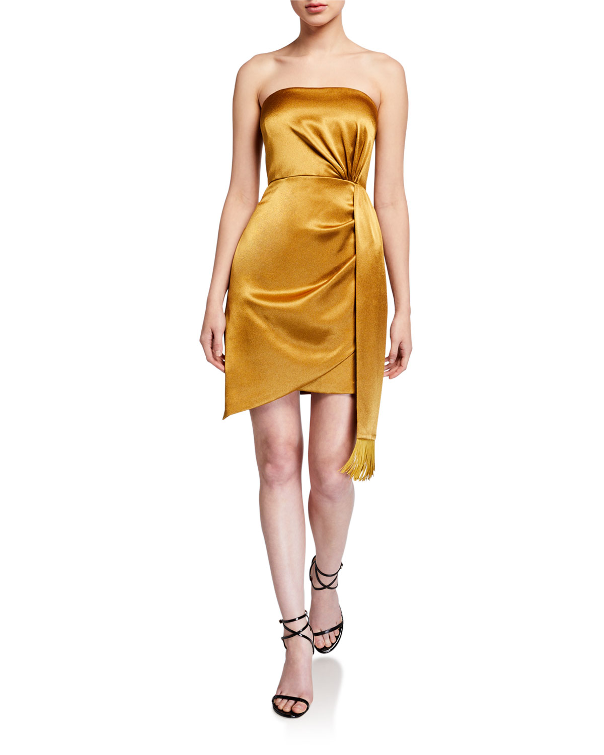 Aidan by Aidan Mattox Strapless Liquid Satin Mini Cocktail Dress w/ Side Drape Detail
