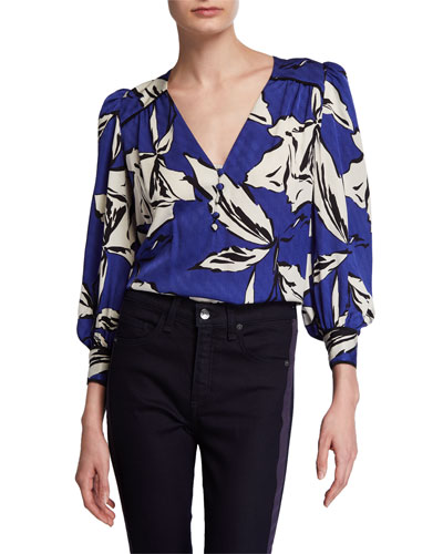Milan Printed Silk Button-Front Top