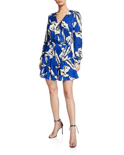 Naomi V-Neck Long-Sleeve Floral-Print Silk Dress