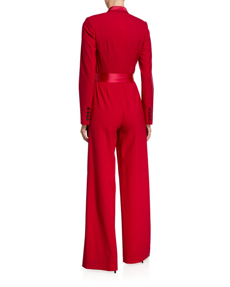 Image 3 of 3: Monica Long-Sleeve Crepe Wrap Jumpsuit