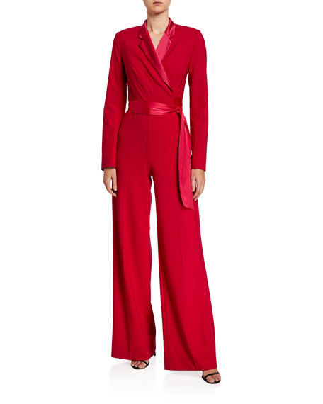Image 1 of 3: Monica Long-Sleeve Crepe Wrap Jumpsuit
