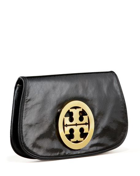 Tory Burch Leather Logo Clutch Bag, Black