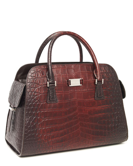 Gia Satchel, Crocodile-Embossed