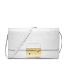 Michael Kors  Gia Ostrich-Embossed Leather Clutch, Optic White
