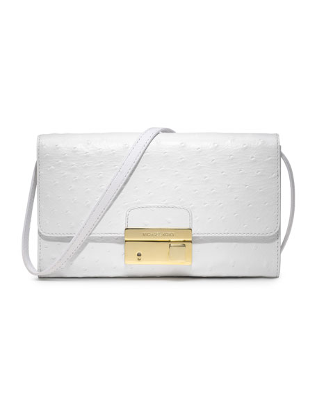 Gia Ostrich-Embossed Leather Clutch, Optic White