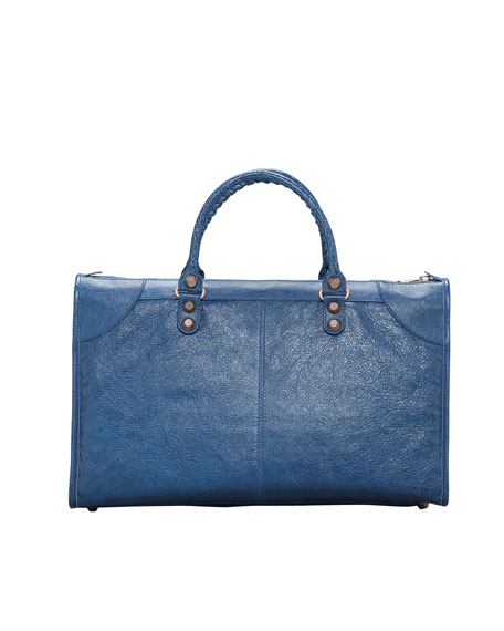 Giant 12 Rose Golden Work Bag, Blue Cobalt
