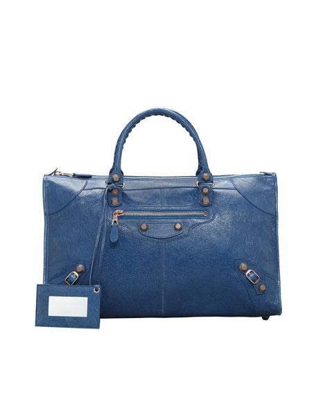 Giant 12 Rose Golden Work Bag, Blue Cobalt