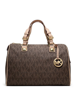 MICHAEL Michael Kors  Grayson Large Logo Satchel Bag, Brown