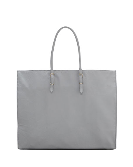 Papier A4 Leather Tote Bag, Graphite