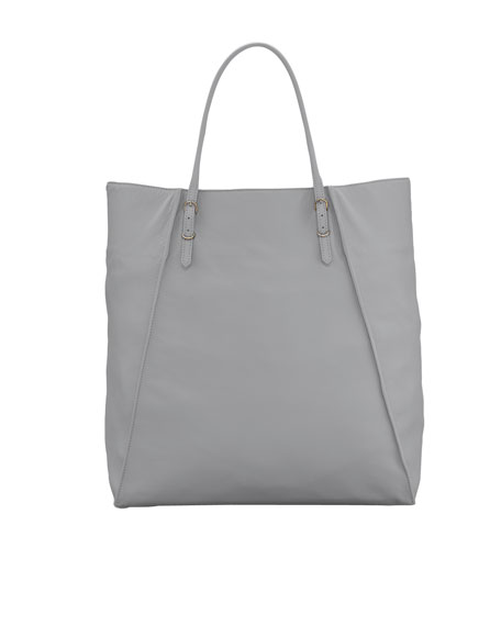 Papier Leather Basket Tote Bag, Graphite