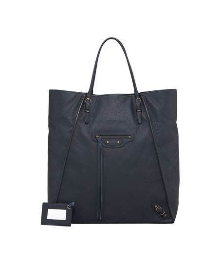 Papier Leather Basket Tote Bag, Bleu Roi