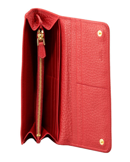 Vitello Daino Continental Wallet, Red (Fuoco)