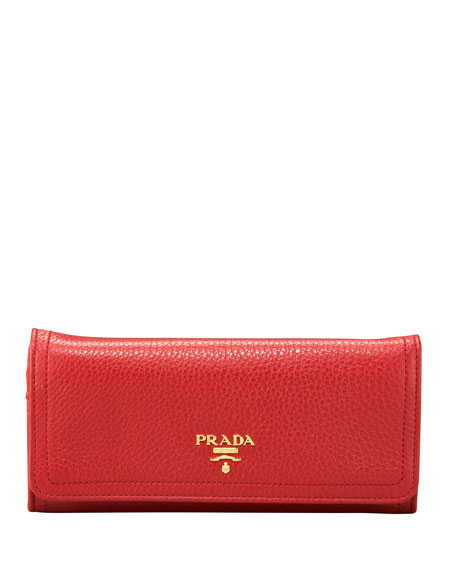 Vitello Daino Continental Wallet, Red (Fuoco)