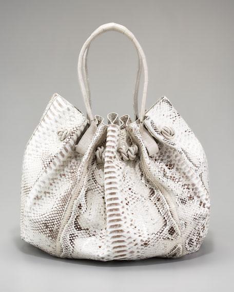 Gathered Python Shoulder Bag