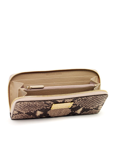 Jet Set Continental Wallet, Dark Sand Python