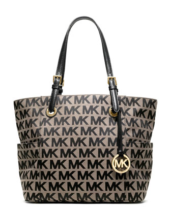 Jet Set E/W Signature Tote, Beige/Black Monogram