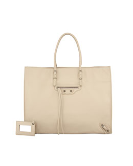 Balenciaga Papier A4 Leather Tote Bag, Sable