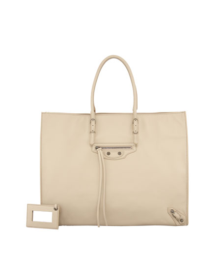 Papier A4 Leather Tote Bag, Sable