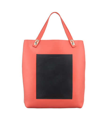 Pocket Tote Bag, Coral/Noir