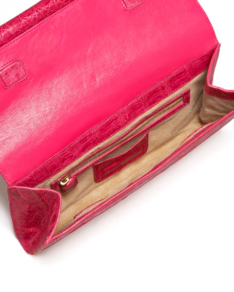 Front-Flap Crocodile Bar Clutch Bag
