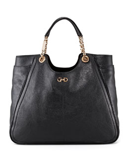 Salvatore Ferragamo Betulla Large Tote Bag, Black