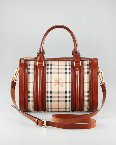Leather-Trim Check Bowler Bag