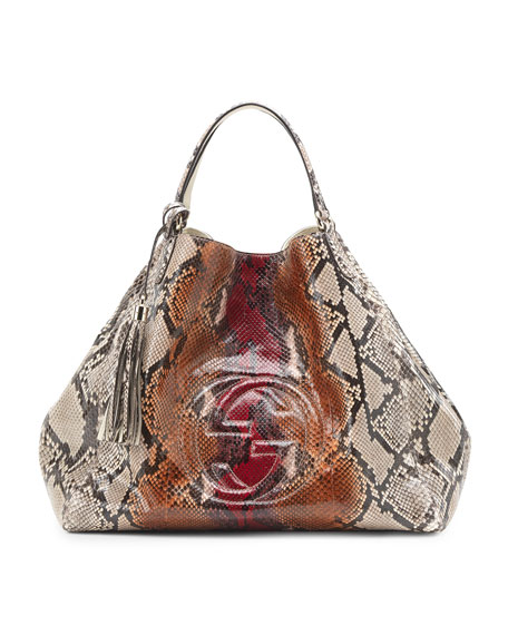 Soho Python Shoulder Bag, Large