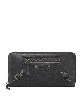Balenciaga Classic Continental Zip Wallet, Black