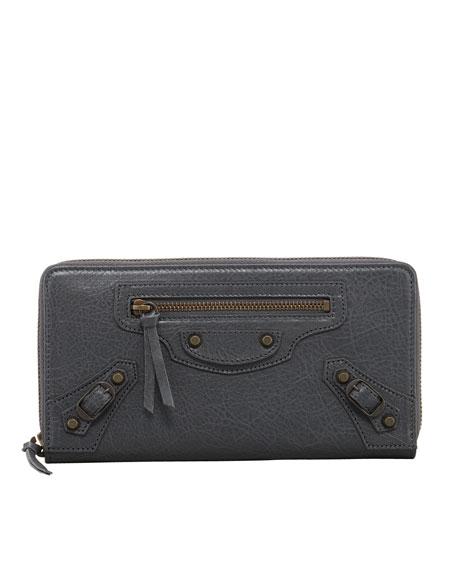 Classic Continental Zip Wallet, Gris Tarmac