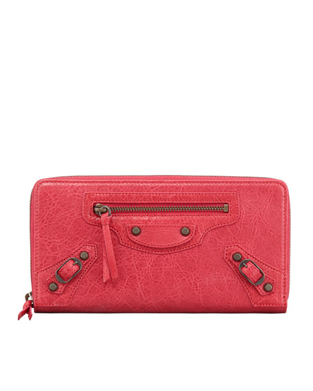 Classic Continental Zip Wallet, Rose Thulian