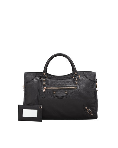 Balenciaga Giant 12 Rose Golden City Bag, Black