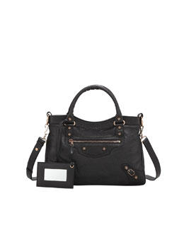 Balenciaga Giant 12 Rose Golden Town Bag, Black