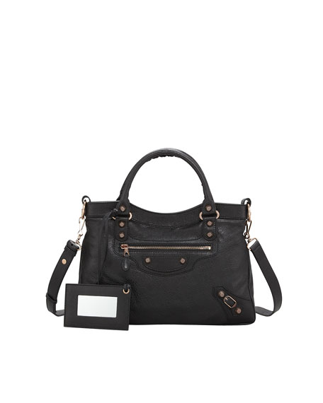 Giant 12 Rose Golden Town Bag, Black