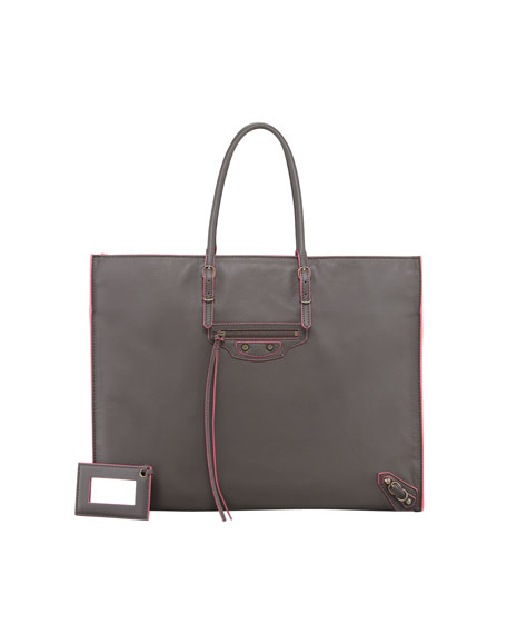 Papier A4 Leather Tote Bag, Gray/Pink
