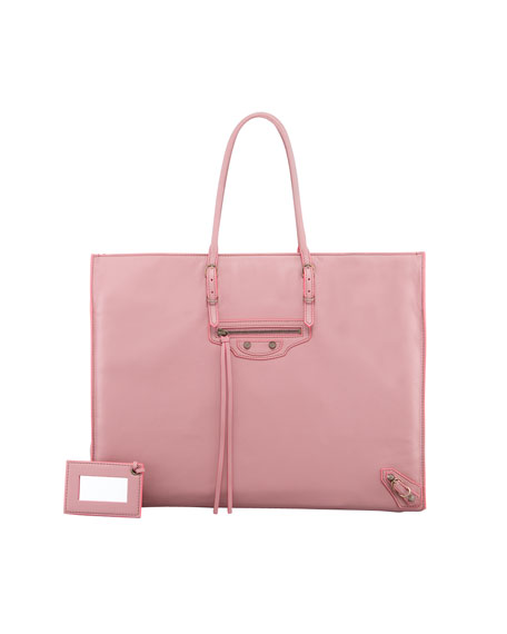 Papier A4 Leather Tote Bag, English Rose