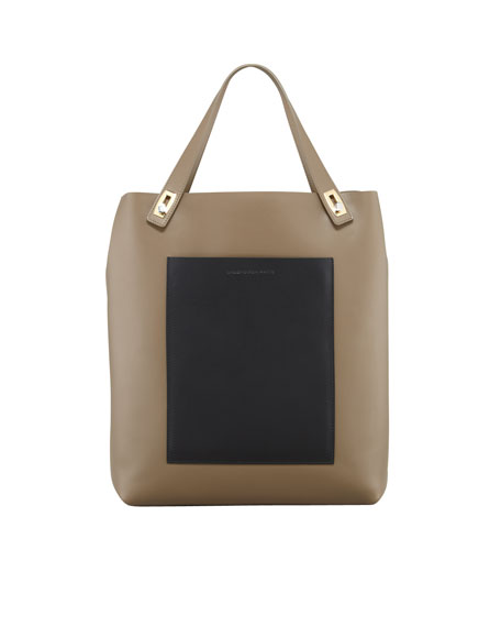 Pocket Tote Bag, Taupe/Black