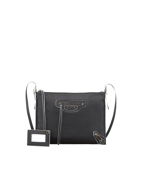 Papier Neo Folk Handle Crossbody Bag, Black/White