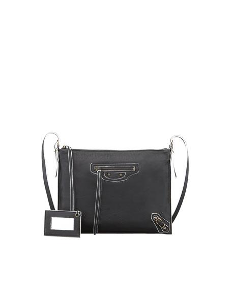 Papier Neo Folk Handle Crossbody Bag, Black/White
