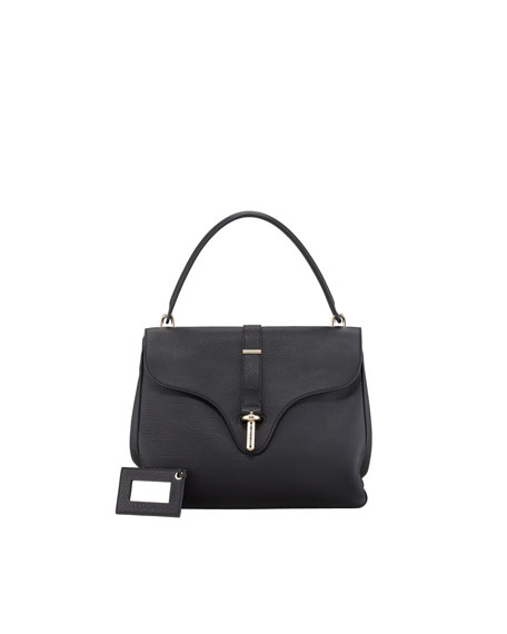Tube-Clasp Square Bag, Black
