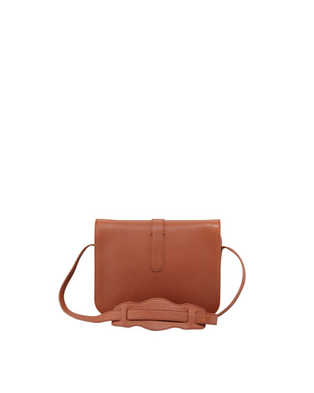 Tube-Clasp Crossbody Bag, Rust Brown