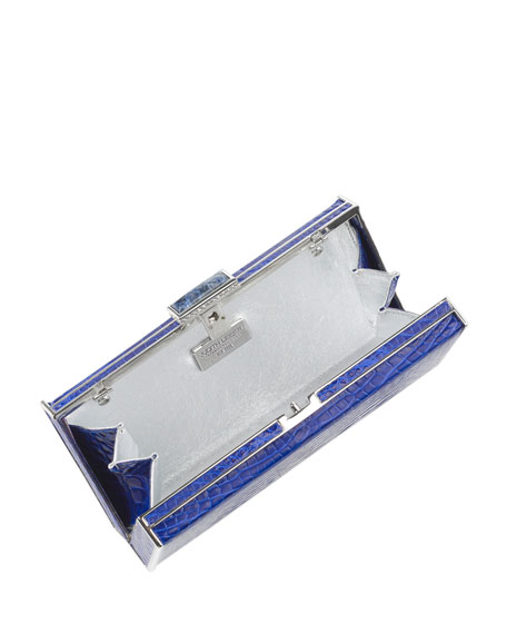 East-West Rectangle Clutch Bag, Sapphire