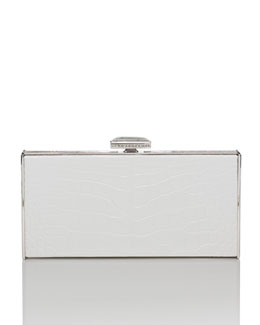 Judith Leiber Couture East-West Rectangle Clutch Bag, White