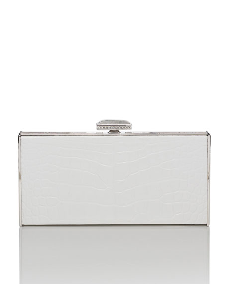 East-West Rectangle Clutch Bag, White