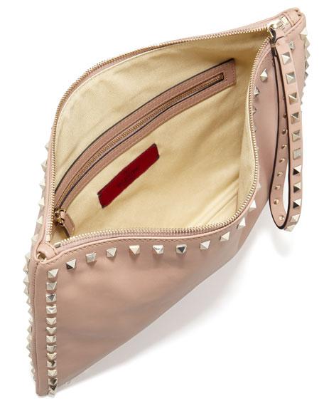 Rockstud Leather Clutch Bag