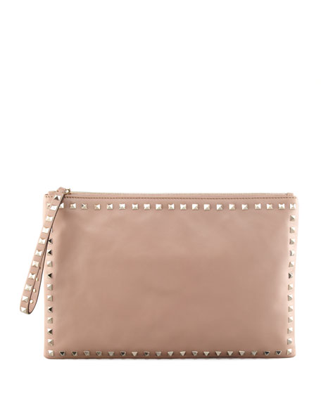 Rockstud Leather Clutch Bag