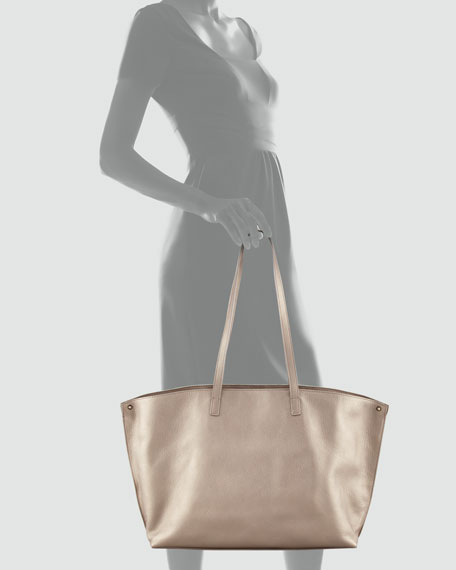 Ai Metallic Leather Tote Bag, Medium