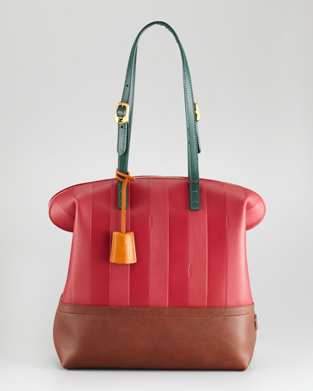 Pequin Tonal-Stripe Leather 2Bag